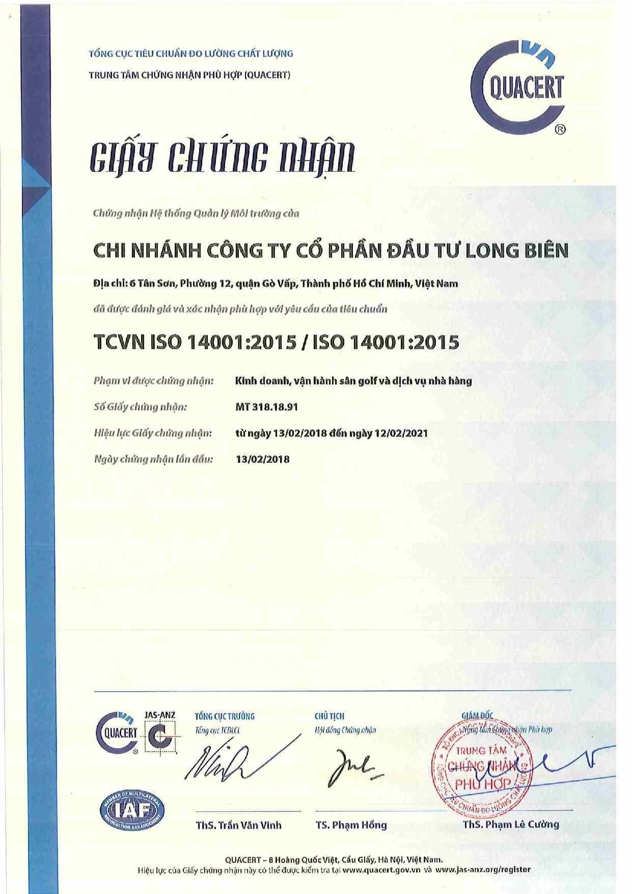 CHỨNG NHẬN HỆ THỐNG QUẢN LÝ MÔI TRƯỜNG TCVN ISO 14001:2015 / ISO 14001:2015
